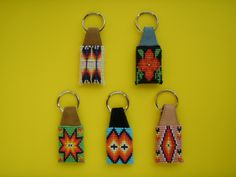 native american seed beaded key chains | Key chain with glass seedbead on leather