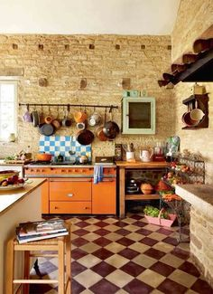 freestanding furniture in a rustic kitchen