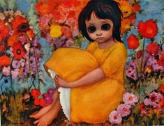 Don't you just want to give her a cuddle. Painted by Margaret Keane 1960s