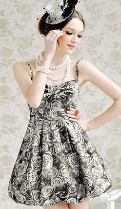 Buble Dress floral black and white