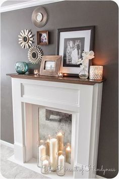 Faux Fireplace Mantle Diy/cover up the existing fireplace hole with a mirror and put candles in front of it Home Living Room, Living Room Decor, Apartment Living, Urban Apartment, Living Room Ideas Without Fireplace, Front Room Decor, Living Spaces, Faux Mantle, Diy Home