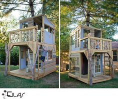 Beautiful photos - watch this amazing tree house be built! I have visions of a tree house for our son connecting our three redwoods in the backyard. Cubby Houses, Play Houses, Casas Club, Tree House Designs, Deco Design, My Dream Home, Outdoor Living, New Homes, Patio