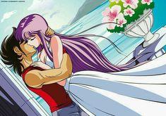 Athena protects Seiya by Ryushenron on DeviantArt Manga Anime, Manga Girl, Ghibli, Athena Goddess, 90s Cartoons, Anime Figures, Anime Comics, Anime Love, Anime Couples