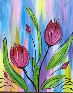 Paint Nite Source by danielabeneke Tulip Painting, Spring Painting, Art Floral, Ipad Kunst, Ipad Art, Diy Canvas Art, Watercolor Flowers, Painting Inspiration, Flower Art