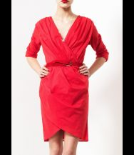 KIRRILY JOHNSTON Voile Drape Dress Red