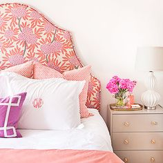 Dove-gray paint and glam knobs upgrade a simple IKEA nightstand. #preppy #decor