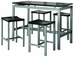 Coaster 5-Piece Metal Dining Set with 4 Barstools, Silver/Black at http://suliaszone.com/coaster-5-piece-metal-dining-set-with-4-barstools-silverblack/