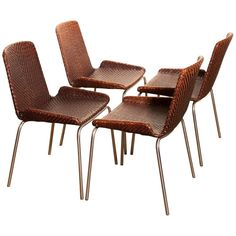 For Sale on - Set of six dining chairs by Thereca. Design after Inger Klingerberg. Made of solid Brazilian rosewood, black leather and chrome. Outdoor Chairs, Outdoor Furniture, Outdoor Decor, Dining Room Chairs, Dining Table, Steel Frame, 1960s, Brown Leather, Chrome