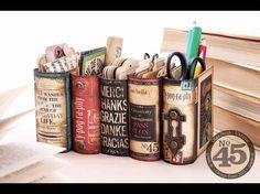Organizador de mesa em forma de livros