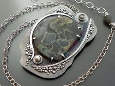 Necklace | Joy Kruse.  Joe creates 'rustic' handmade Silver, Stone and Gold jewellery  { wildprairiesilver... }