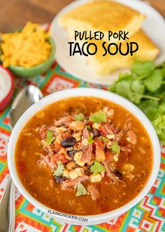 Pulled Pork Taco Soup – the BEST taco soup EVER! Pulled pork, pinto beans, black beans, diced tomatoes and green… Leftover Pork Loin Recipes, Pork Roast Recipes, Pulled Pork Recipes, Pork Tenderloin Recipes, Leftovers Recipes, Easy Soup Recipes, Roast Brisket, Game Recipes, Beef Tenderloin