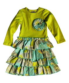 Look at this Lime & Aqua Blossom Tiered Dress - Girls on #zulily today!