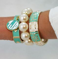 Monogrammed Bangle Set 4 pc Enamel Bracelet Set with Charm Jewelry Accessories, Fashion Accessories, Fashion Jewelry, Mint Jewelry, Summer Jewelry, Pearl Jewelry, Bangle Set, Bracelet Set, Pearl Bracelet