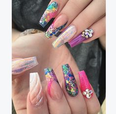 Inevitable Coffin Nail Designs for Gallery 2019 # nails . Crazy Nails, Dope Nails, Fancy Nails, Fabulous Nails, Gorgeous Nails, Pretty Nails, Unicorn Nails, Nail Candy, Luxury Nails