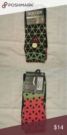Adidas Soccer Socks NWT Adidas Soccer Socks.  Features arch and ankle compression for added stability and a fun pattern.  Spice up your shin guards with a pair of these babies!  *** Consider bundling to save on shipping***  #adidas #soccersocks #soccer #socks Adidas Underwear & Socks Athletic Socks