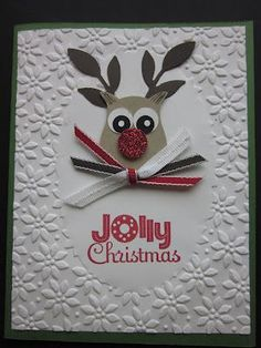Stampin' Up! Owl Punch Art Christmas Reindeer by  TX Stampin' | http://lovelypetcollections322.blogspot.com