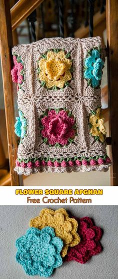 Flower Square Afghan [Crochet Pattern]