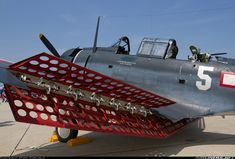 Douglas SBD-5 Dauntless dive bomber with its famous air brakes.