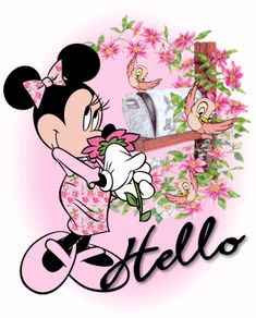 Hello love cute animated hello friend minnie mouse greeting enjoy your day Mickey Mouse Quotes, Minnie Mouse Pictures, Mickey Mouse And Friends, Good Morning Cartoon, Cute Good Morning Quotes, Good Morning Friends, Mickey Mouse Wallpaper, Disney Wallpaper, Hello Pictures