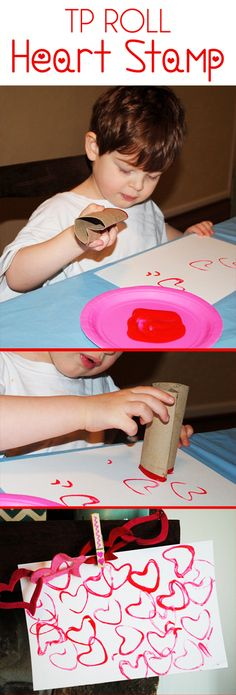 TP Heart Stamp.  Valentine's Day Art Project / Craft Idea for Preschoolers and Toddlers.  Bend a Toilet Paper Roll to create a heart shape and let them stamp red and pink paint to create heart art! <3