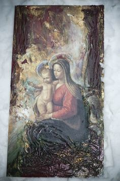 decoupage i jedwabie Ma. Diy And Crafts, Arts And Crafts, Paper Crafts, Different Kinds Of Art, Decoupage Art, Madonna And Child, Religious Art, Painting On Wood, Art Forms
