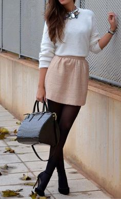 cream sweater, pink skirt