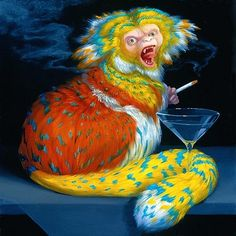 Martini Drinker, from the Our Way of Life series, United States, by Laurie Hogin. Ap Art, Pop Surrealism, Consumerism, Contemporary Paintings, Illustration Art, Creatures, Animals, 2000s, Monkeys