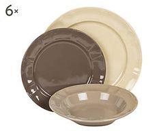 Servizio di piatti in ceramica avena, ecru e cenere - 18 pezzi