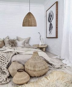 30 Boho chic Bedroom decor ideas and inspiration - earthy rustic neutral bohemia. - 30 Boho chic Bedroom decor ideas and inspiration – earthy rustic neutral bohemian decor - Bohemian Bedroom Decor, Bohemian Interior, Cozy Bedroom, Home Decor Bedroom, Diy Home Decor, Bedroom Ideas, Scandinavian Bedroom, Bohemian Living, Modern Bohemian