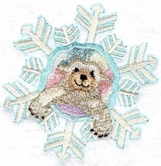 Threadsketches' set Chance of Snow - Christmas machine embroidery design, polar bear snowflake