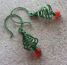 Xmass tree  wire earrings