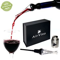 Premium Wine Aerator Pourer and Stainless Steel Vacuum Wine Sealer AirVino Wine Accessories Set Inside an Elegant Box Lifetime Guarantee ** See this great product.