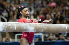 July 2016 - Second night of competition at the U. Olympic Team Trials for women's gymnastics at SAP Center in San Jose, Calif. Gymnastics Facts, Gymnastics Images, Gymnastics Posters, Artistic Gymnastics, Rio Olympics 2016, Summer Olympics, Simone Biles, Gymnastics Photography, Female Gymnast