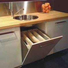 #cocinas Mueble de cocina recycologic para reciclar sin almacenar cubos y bolsas