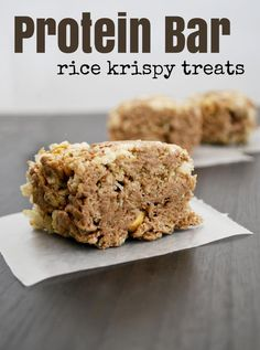and Co: Protein Bar Rice Krispy Treats - I am not sure we can call these . - Rice Recipes -Mallow and Co: Protein Bar Rice Krispy Treats - I am not sure we can call these . Healthy Rice Krispie Treats, Rice Krispy Treats Recipe, Healthy Treats, Healthy Kids, Protein Bar Recipes, Protein Snacks, Protein Desserts, Healthy Recipes, Healthy Protein