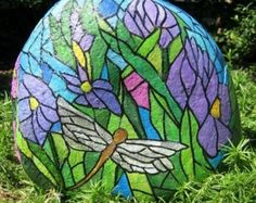 Stained-Glass Themed Dragonfly Rock (SOLD) - by Maggie Lee Flower Creations