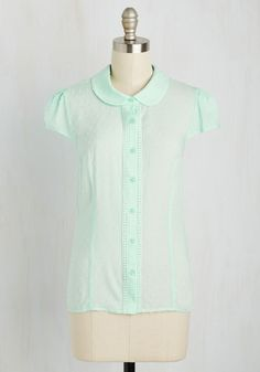Library Study Sesh Top in Mint. Dressed in this delicate mint top, you prep for upcoming exams in the coziest corner of the library. #green #modcloth