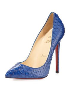 Pigalle Python Point-Toe Red Sole Pump, Blue by Christian Louboutin at Neiman Marcus.