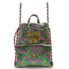 Gucci Embellished brocade drawstring backpack ($1,790) ❤ liked on Polyvore featuring bags, backpacks, green multi, over the shoulder bags, over the shoulder backpack, draw string bag, drawstring bag and drawstring knapsack