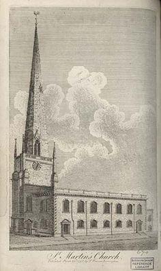 St. Martin's church, circa 1800. Birmingham Bull Ring, Birmingham City Centre, World History, Family History, Sutton Coldfield, Moving To Australia, Birmingham England, Old Town, Old Photos