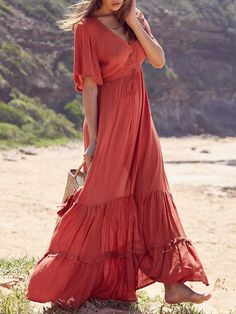 Solid Ruffled Short Sleeves Empire Maxi Dress You are in the right place about REd dress accessories Here we offer you the most beautiful pictures abo Long Sleeve Maxi, Maxi Dress With Sleeves, Short Sleeve Dresses, Short Sleeves, Long Dresses, Fall Maxi Dresses, Party Dresses, Evening Dresses, Draped Dress