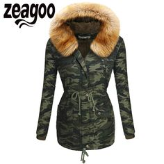 Zeagoo TOP Quality Winter Jacket Coat Thickening Warm Women's Parkas Army Faux Fur Collar Hooded Woman Outwear Fatigues Clothing | An Official Army Closet Online Store