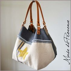 Tote in natural fabric with glitter by Muse de Provence. Hand made French one-of-a-kind bag.