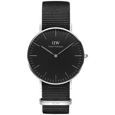 Daniel wellington black cornwall watch nato silver 36mm (€180) ❤ liked on Polyvore featuring men's fashion, men's jewelry, men's watches, mens silver watches, thin mens watches and mens black face watches