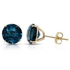 Blue Topaz Yellow Gold Earrings