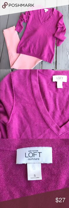 Loft 100% cashmere sweater Perfect condition. Size S thank you for looking and sharing LOFT Sweaters V-Necks