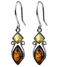 Multicolor Amber Sterling Silver Square Marquise Small Tiny Earrings