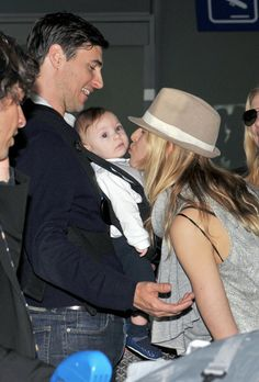 Karolina Kurkova at the Airport with her Family
