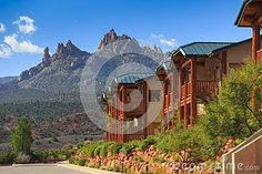 Hotel near Zion National Park, mountains in background.