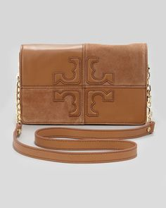 Natalie Suede & Leather Crossbody Bag, Brown by Tory Burch at Neiman Marcus